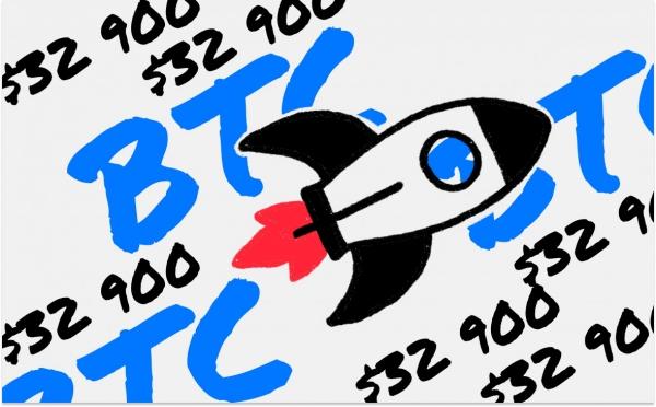 Биткоин за день вырос на $4000 и установил новый максимум в $33 тыс.